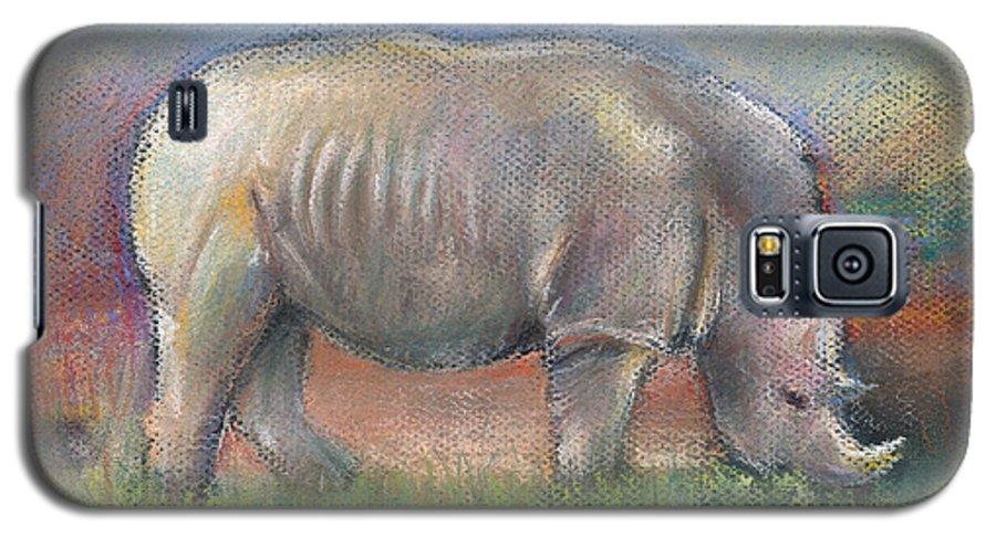 Rhino Galaxy S5 Case featuring the pastel Rhino by Arline Wagner