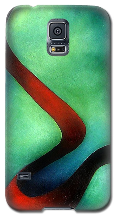 Red Galaxy S5 Case featuring the painting Ribbon Of Time by Elizabeth Lisy Figueroa
