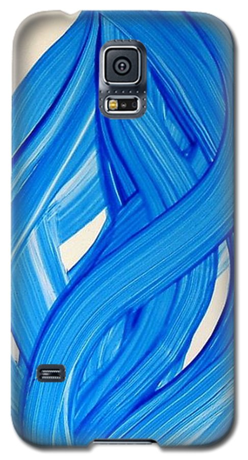 Abstract Modern Contemporary Yupo Art Painting Romantic Pop Blue Galaxy S5 Case featuring the painting Ribbons Of Love-blue by Manjiri Kanvinde