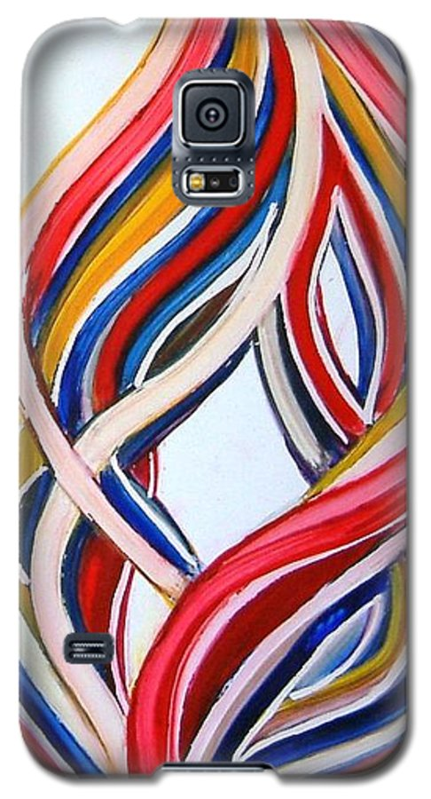 Abstract Modern Contemporary Pop Romantic Love Colourful Red Yellow Blue White Galaxy S5 Case featuring the painting Ribbons Of Love-multicolour by Manjiri Kanvinde