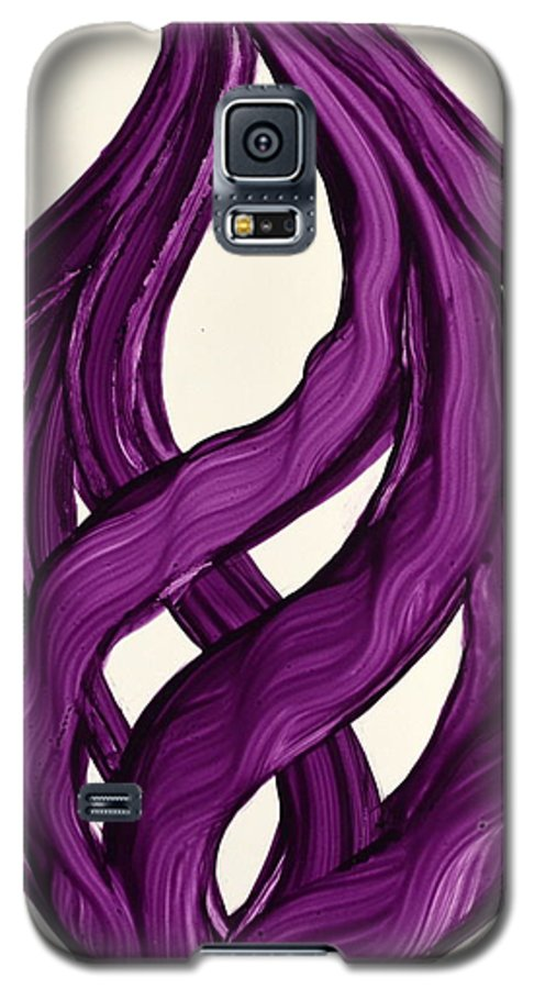 Abstract Art Yupo Comtemporary Modern Pop Romantic Vibrant Galaxy S5 Case featuring the painting Ribbons Of Love-violet by Manjiri Kanvinde