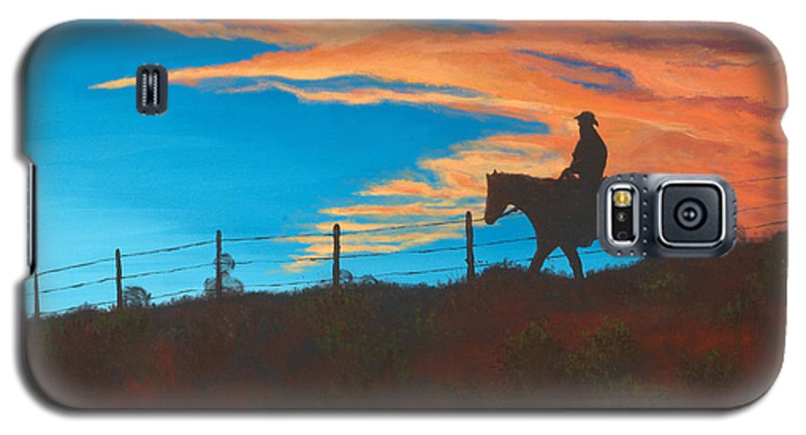 Cowboy Galaxy S5 Case featuring the painting Riding Fence by Jerry McElroy