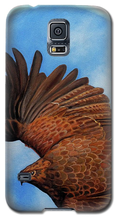 Hawk Galaxy S5 Case featuring the painting Riding The Wind by Brian Commerford