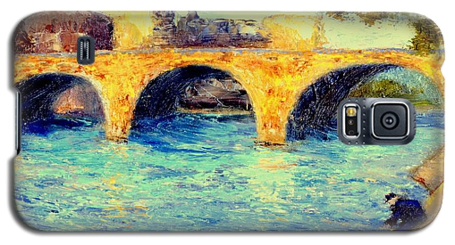 Impressionism Galaxy S5 Case featuring the painting River Seine Bridge by Gail Kirtz