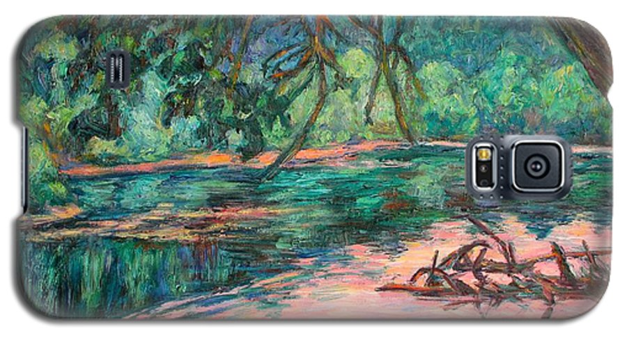 Riverview Park Galaxy S5 Case featuring the painting Riverview At Dusk by Kendall Kessler
