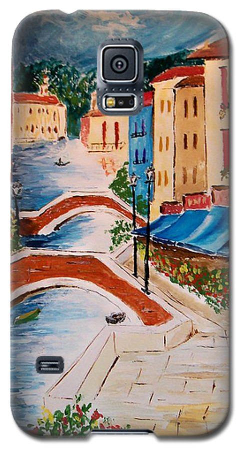 Canal Galaxy S5 Case featuring the painting Riverwalk by Leo Gordon