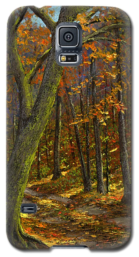 Landscape Galaxy S5 Case featuring the painting Road In The Woods by Frank Wilson