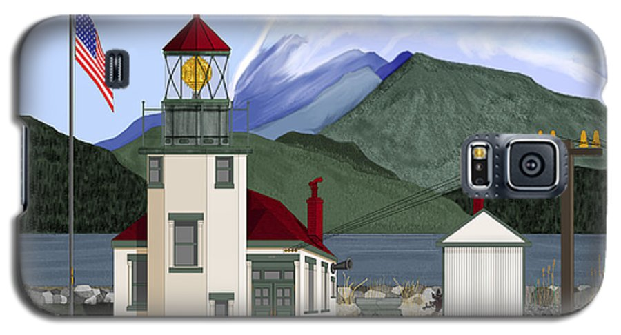 Point Robinson Lighthouse Galaxy S5 Case featuring the painting Robinson Point With Mount Rainier by Anne Norskog