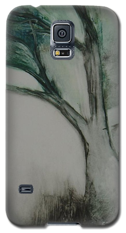 Monoprint Tree Rock Trees Galaxy S5 Case featuring the painting Rock Tree by Leila Atkinson