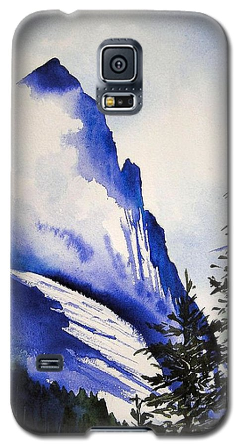 Rocky Mountains Galaxy S5 Case featuring the painting Rocky Mountain High by Karen Stark