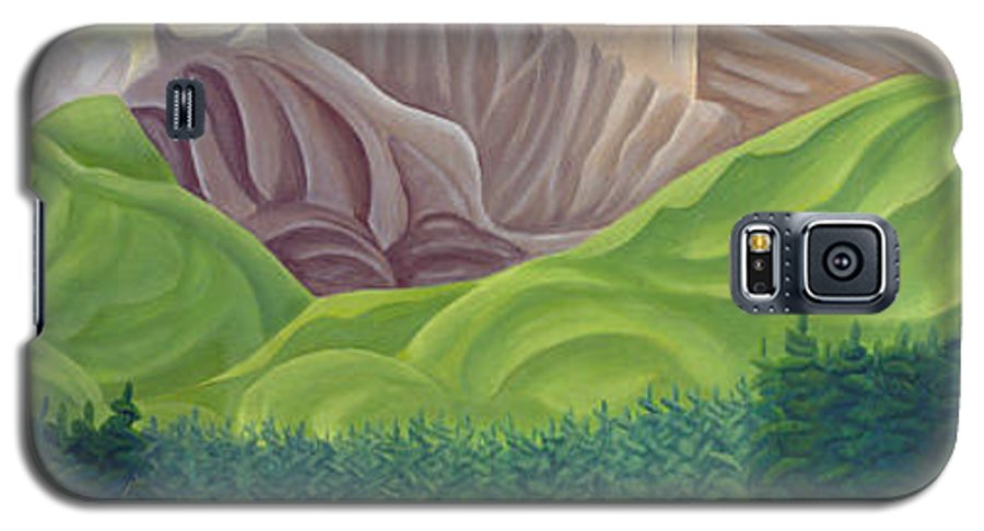 Landscape Galaxy S5 Case featuring the painting Rocky Mountain View 4 by Lynn Soehner