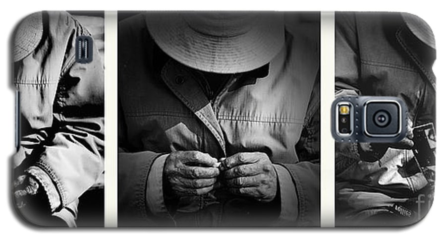Rollup Rolling Cigarette Smoker Smoking Man Hat Monochrome Galaxy S5 Case featuring the photograph Rolling His Own by Sheila Smart Fine Art Photography