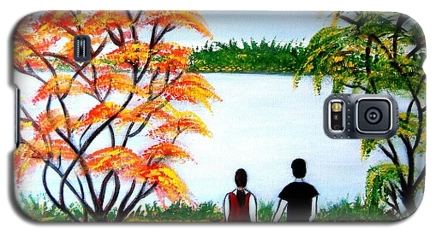 Romance Figures Autumn Orange Trees Green Pop Water Lake Love Valentine Yellow Lake Spring Bloom Galaxy S5 Case featuring the painting Romance In Autumn by Manjiri Kanvinde