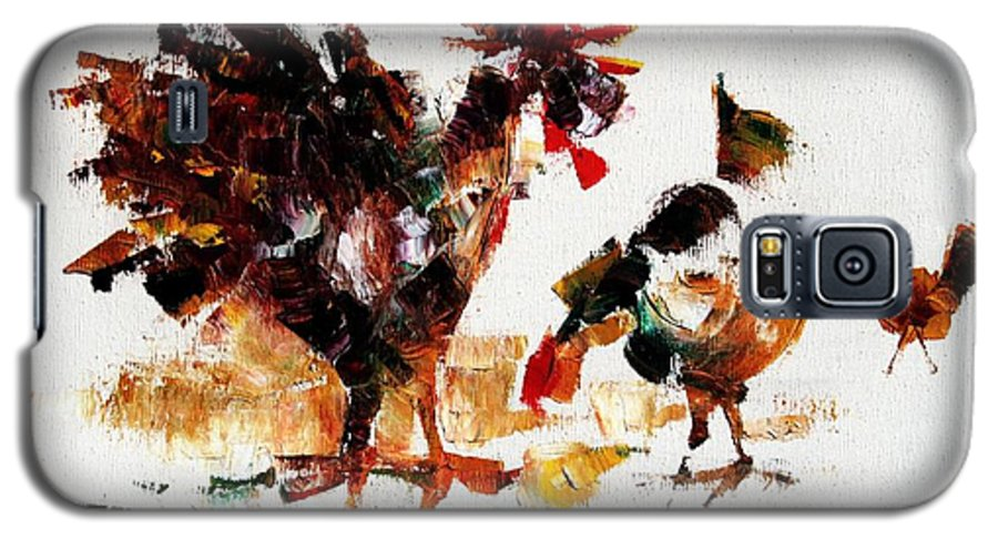 Rooster Galaxy S5 Case featuring the painting Rooster by Mario Zampedroni
