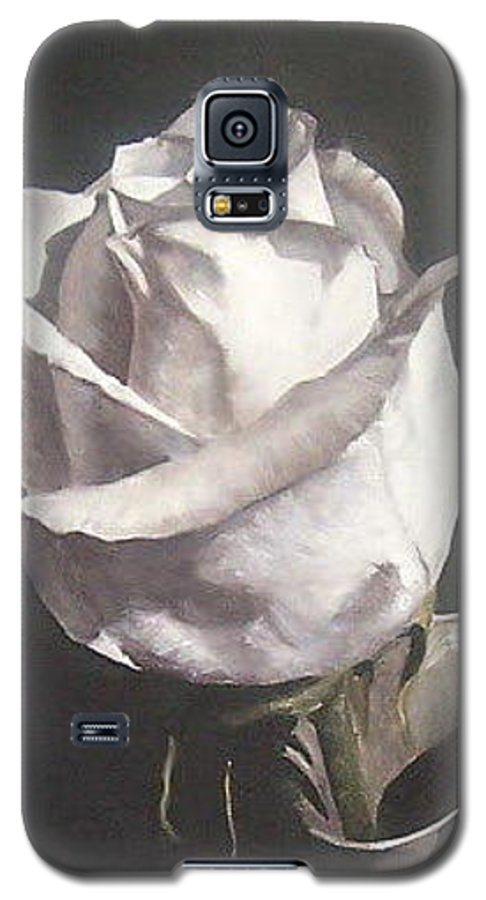 Rose Floral Nature White Flower Galaxy S5 Case featuring the painting Rose 2 by Natalia Tejera