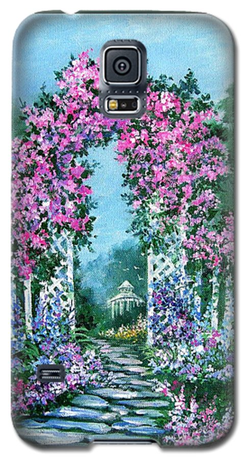 Roses;floral;garden;picket Fence;arch;trellis;garden Walk;flower Garden; Galaxy S5 Case featuring the painting Rose-covered Trellis by Lois Mountz