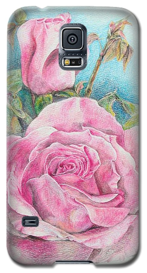Flower Galaxy S5 Case featuring the painting Rose by Muriel Dolemieux