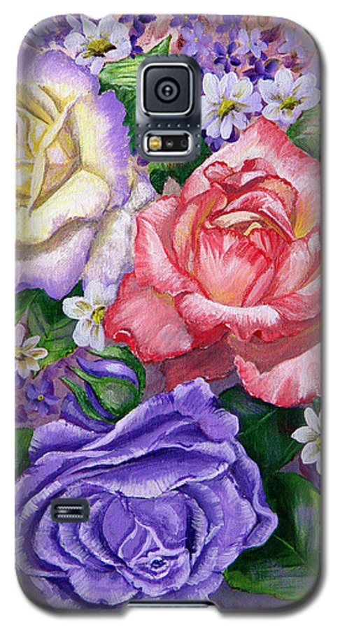 Rose Galaxy S5 Case featuring the painting Roses by Quwatha Valentine