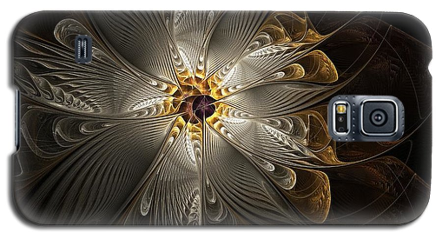 Digital Art Galaxy S5 Case featuring the digital art Rosette In Gold And Silver by Amanda Moore