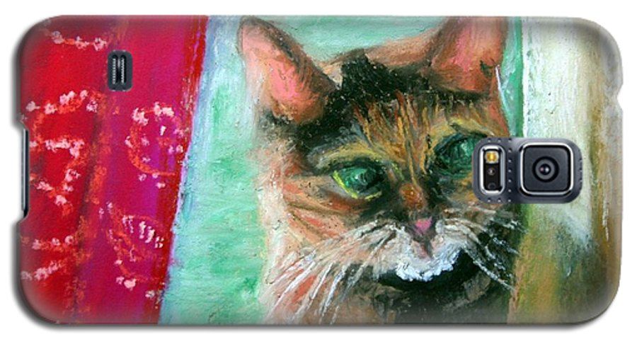 Cat Galaxy S5 Case featuring the painting Rosy In Color by Minaz Jantz