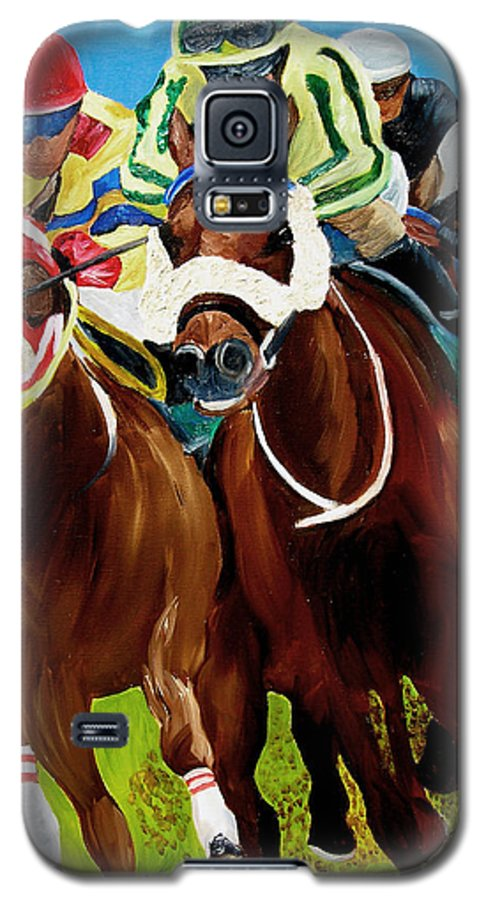 Horse Racing Galaxy S5 Case featuring the painting Rounding The Bend by Michael Lee