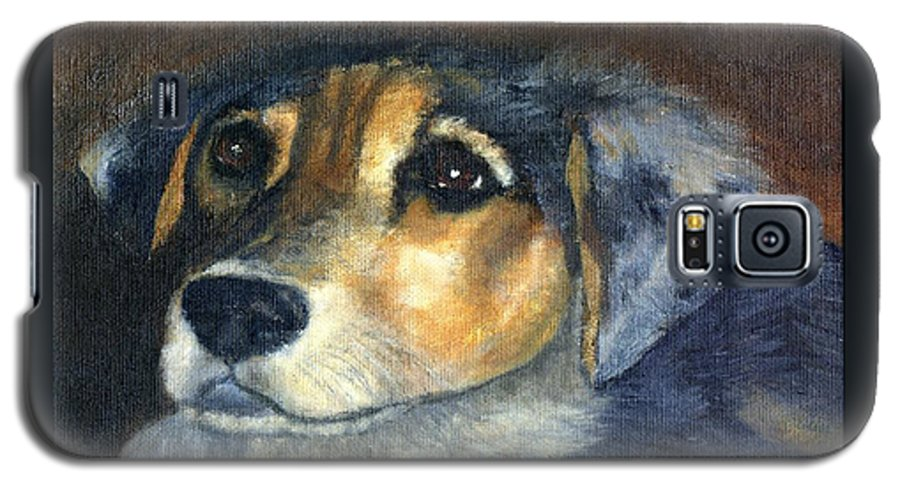 Dog Galaxy S5 Case featuring the painting Roxie by Gail Kirtz
