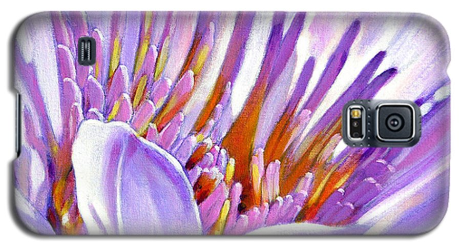 Water Lily Galaxy S5 Case featuring the painting Royal Purple And Gold by John Lautermilch