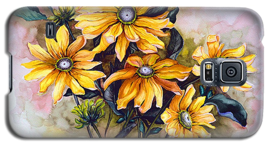Flower Painting Sun Flower Painting Flower Botanical Painting  Original Watercolor Painting Rudebeckia Painting Floral Painting Yellow Painting Greeting Card Painting Galaxy S5 Case featuring the painting Rudbeckia Prairie Sun by Karin Dawn Kelshall- Best