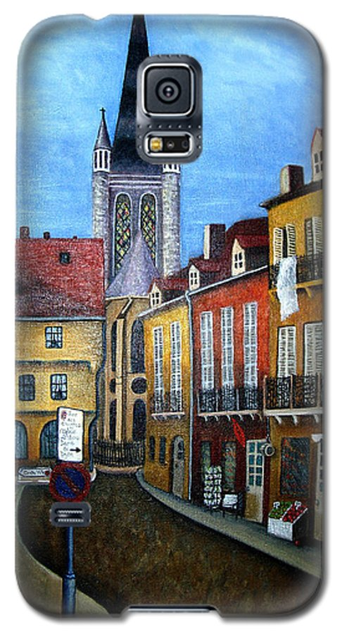 Street Scene Galaxy S5 Case featuring the painting Rue Lamonnoye In Dijon France by Nancy Mueller