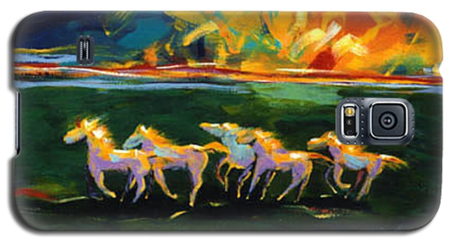 Abstract Horse Galaxy S5 Case featuring the painting Run From The Sun by Lance Headlee
