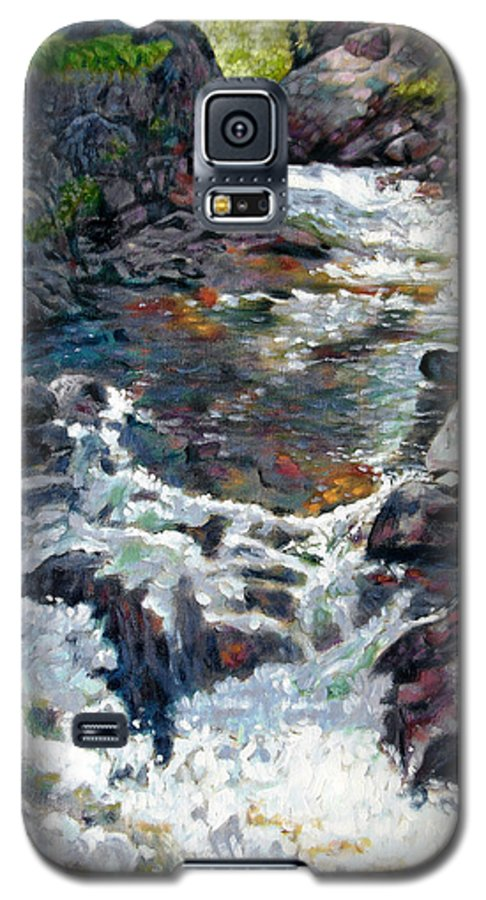 A Fast Moving Stream In Colorado Rocky Mountains Galaxy S5 Case featuring the painting Rushing Waters by John Lautermilch