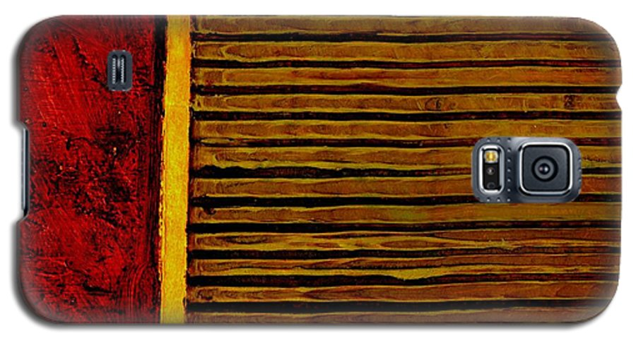 Rustic Galaxy S5 Case featuring the painting Rustic Abstract One by Michelle Calkins