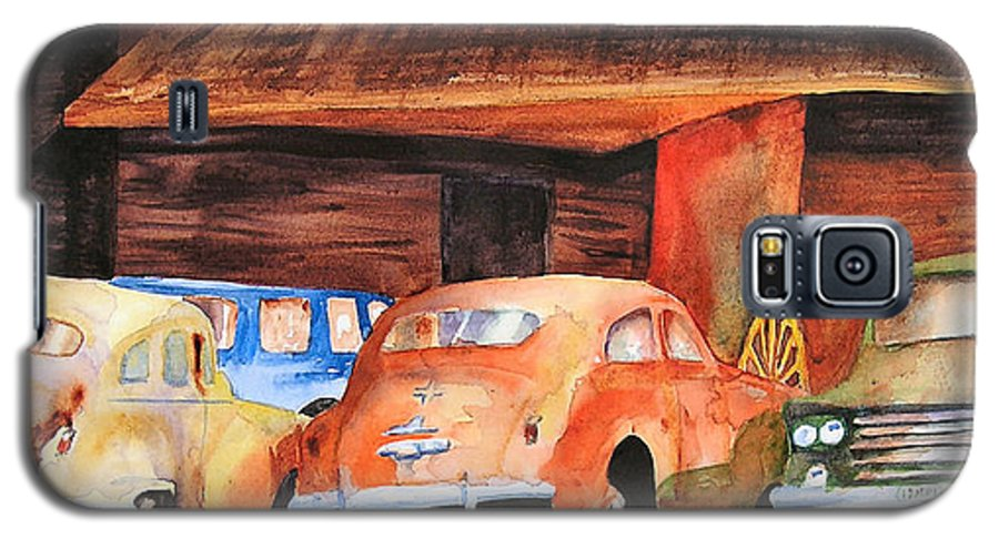 Car Galaxy S5 Case featuring the painting Rusting by Karen Stark
