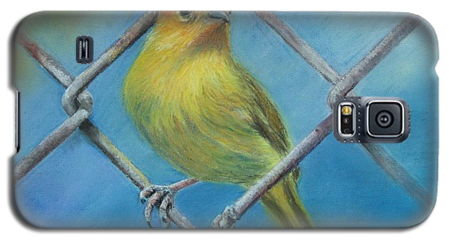 Bird Galaxy S5 Case featuring the painting Safron Finch by Ceci Watson