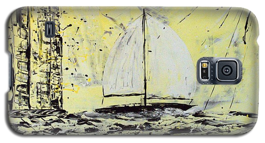 Abstract Galaxy S5 Case featuring the painting Sail And Sunrays by J R Seymour