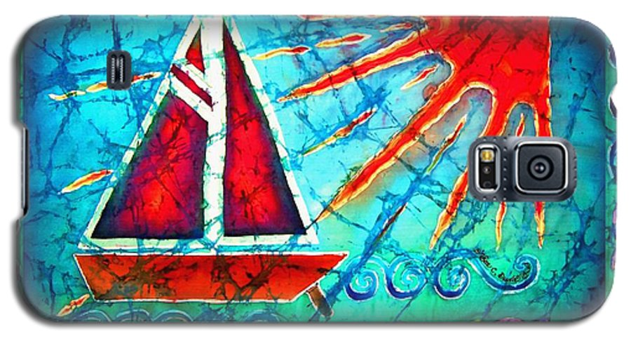 Sailboat Galaxy S5 Case featuring the painting Sailboat In The Sun by Sue Duda