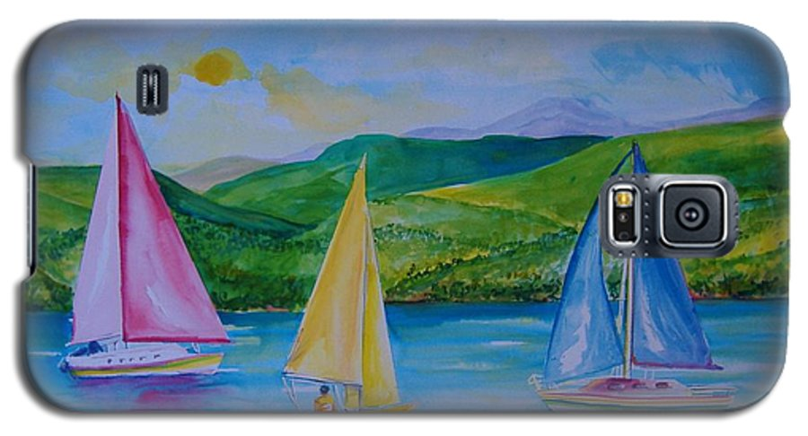 Sailboats Galaxy S5 Case featuring the painting Sailboats by Laura Rispoli