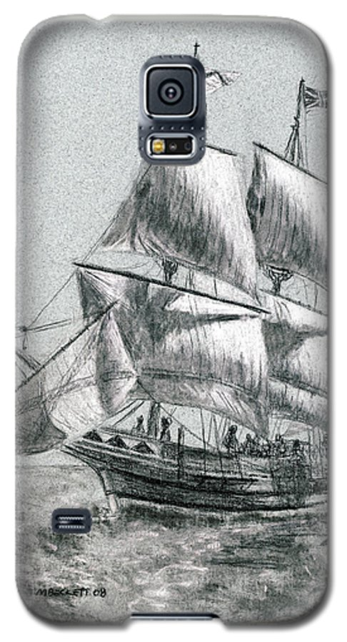 Seascape Galaxy S5 Case featuring the drawing Sailing by Michael Beckett