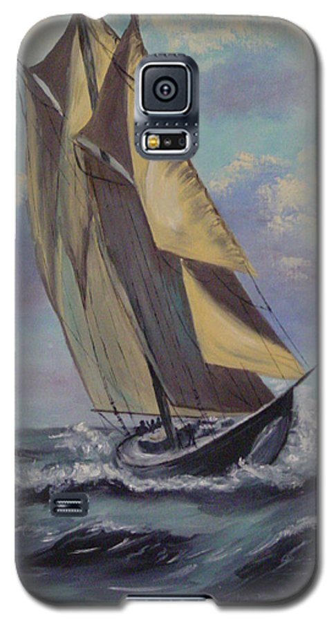 Ocean Galaxy S5 Case featuring the painting Sailing by Quwatha Valentine