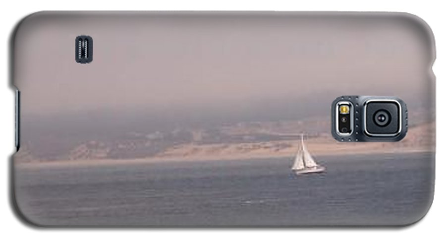 Sailing Sail Sailboat Boating Boat Ocean Pacific Bay Sea Seascape Nature Outdoors Marine Beach Galaxy S5 Case featuring the photograph Sailing Solo by Pharris Art