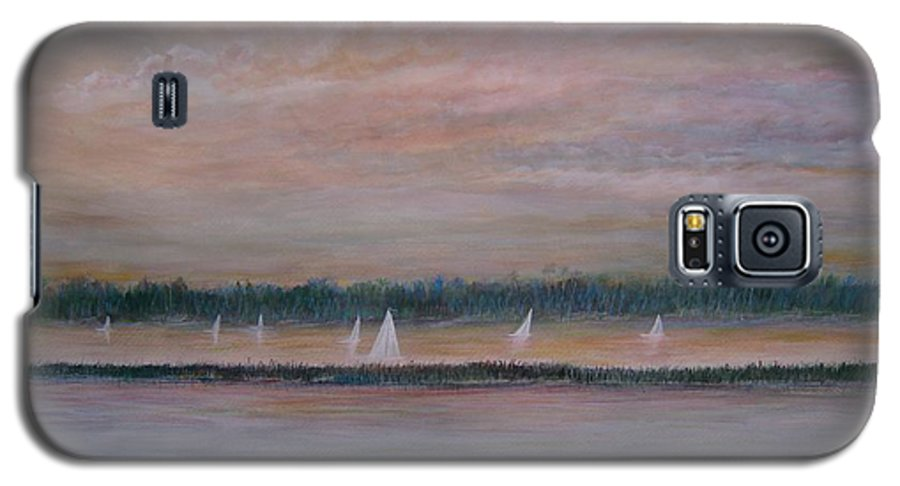 Sailboats; Marsh; Sunset Galaxy S5 Case featuring the painting Sails In The Sunset by Ben Kiger