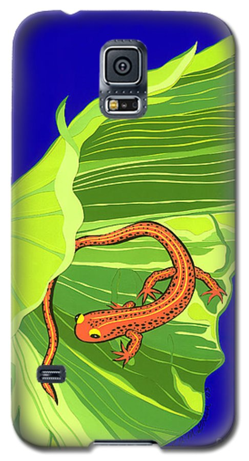 Nature Galaxy S5 Case featuring the drawing Salamander by Lucyna A M Green
