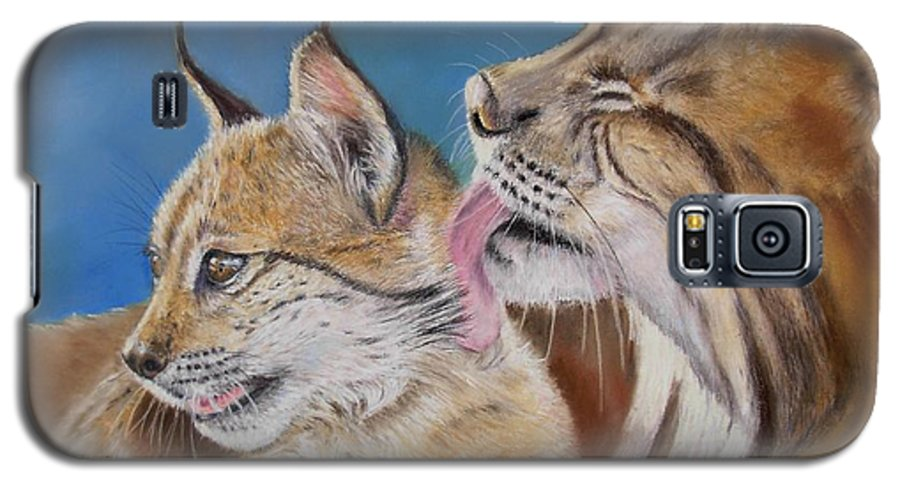 Iberian Lynx Galaxy S5 Case featuring the painting Saliega Y Brezo by Ceci Watson