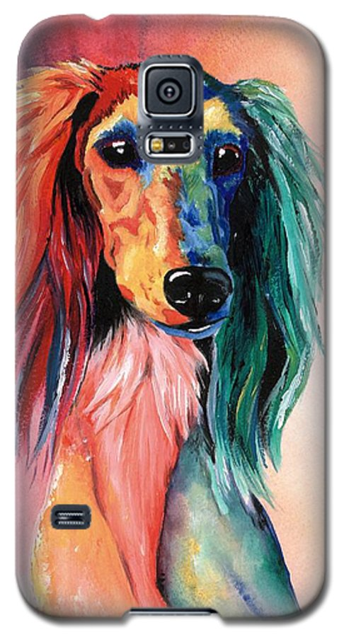 Saluki Galaxy S5 Case featuring the painting Saluki Sunset by Kathleen Sepulveda