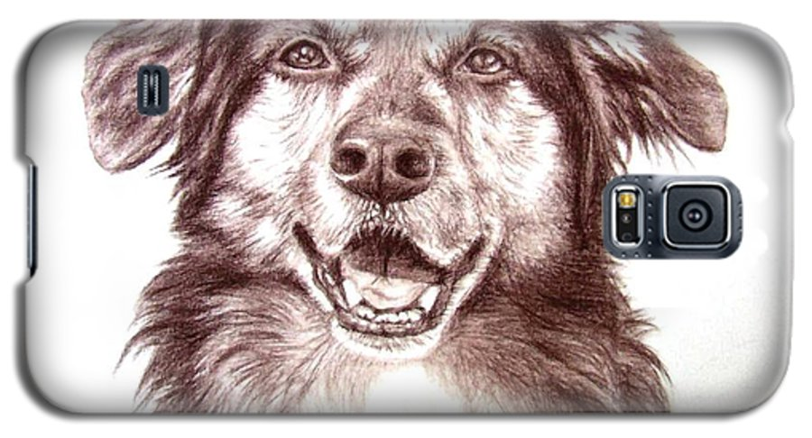 Dog Galaxy S5 Case featuring the drawing Sam by Nicole Zeug