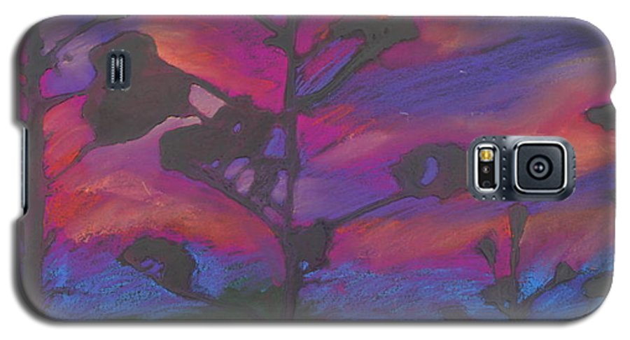 Contemporary Tree Landscape Galaxy S5 Case featuring the mixed media San Diego Sunset by Leah Tomaino