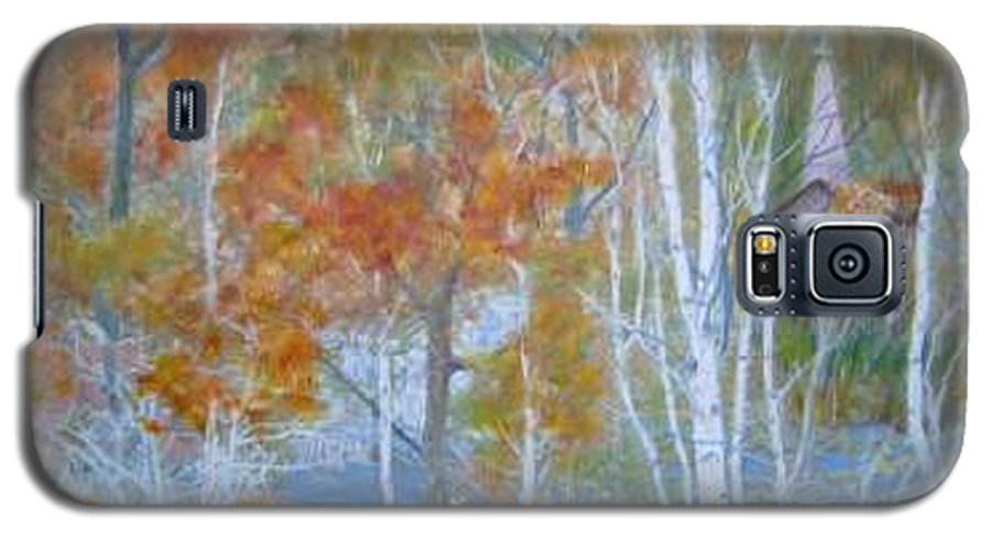 Church; Landscape; Birch Trees Galaxy S5 Case featuring the painting Sanctuary by Ben Kiger