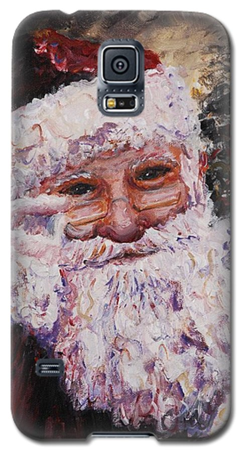 Santa Galaxy S5 Case featuring the painting Santa Chat by Nadine Rippelmeyer