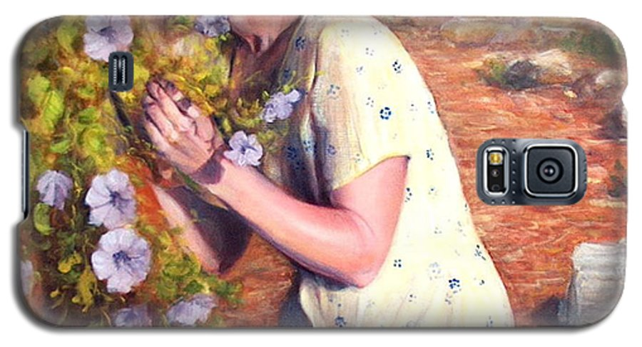 Realism Galaxy S5 Case featuring the painting Santa Fe Garden 2  by Donelli DiMaria