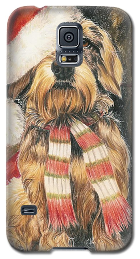Dogs Galaxy S5 Case featuring the drawing Santas Little Yelper by Barbara Keith